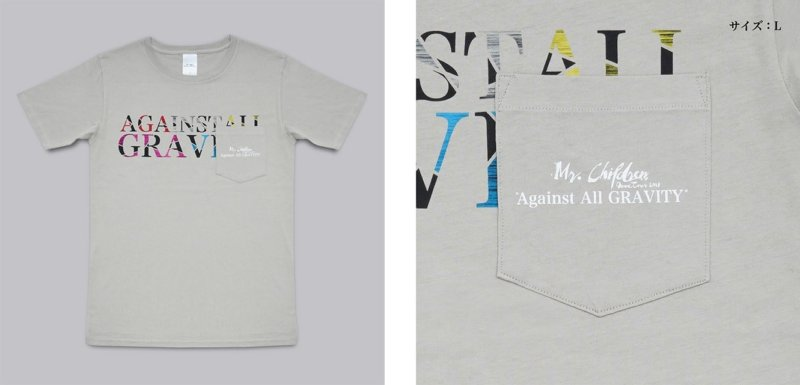"""Against All GRAVITY""ポケットTシャツ(SILVER GRAY)"